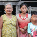 A Moken family, mostly men are going out for fishery. Women and kids are left alone at home.